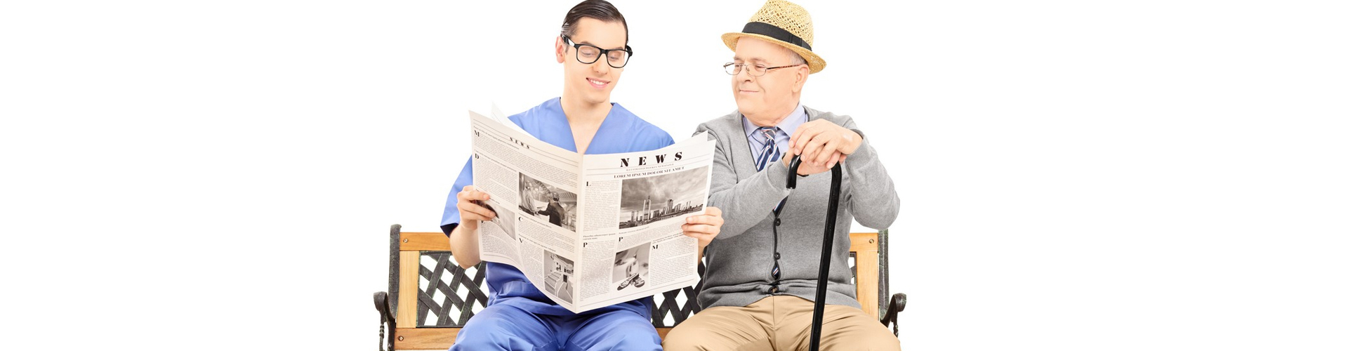 a medical staff and a senior man reading the news